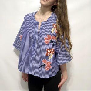 Zara Embroidered Striped Boxy Shirt Blouse 19-0456